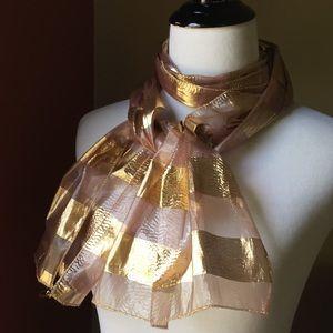 Vintage Echo metallic gold pink stripes scarf